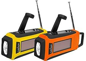Ivation Radio AM/FM/NOAA WB d'urgence à écran numérique, étanche, alimentation solaire et dynamo, chargeur de smartphone, torche à 3 LED lumineuses - appareil compact d'urgence pour les alertes météo NOAA et le chargement de téléphones mobiles - 3 modes d