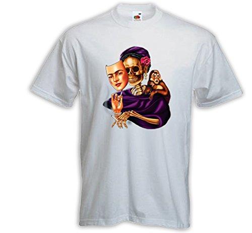 Mexican T-Shirt Skeleton Mask weiß Rockabilly Frida Kahlo Muertos Weiß