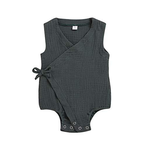 Knowin-baby body Sommer-Säuglingsbaby-Jungen Mädchen-ärmelloser Fester Druckspielanzug-Bodysuit Hochwertig Lässig und Hübsch Ärmelloser, Einfarbiger Siamese-Strampler zum Schnüren
