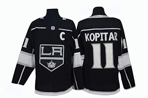 Gmjay Anže Kopitar # 11 Eishockey Los Angeles Kings Hockey Schwarz Genähte Buchstaben Zahlen NHL Retro Hockey Trikots,XXXL