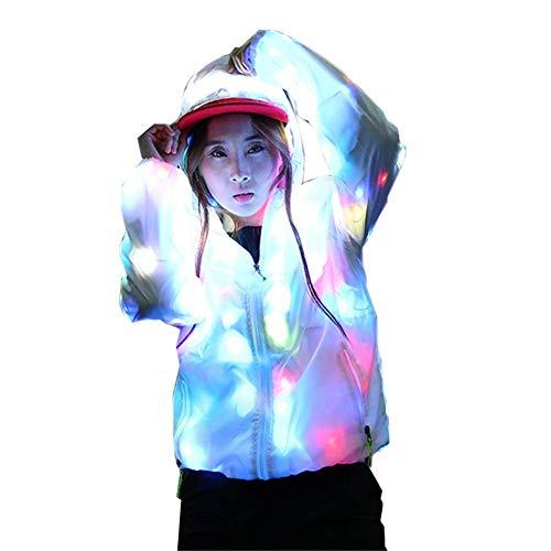 SuaMomente LED Flash Regenbogen Licht Jacke Unisex Kapuzenjacke Kleidung Neuheit Nachtlauf Cool Coat Bühnenkostüm,Flashing,L
