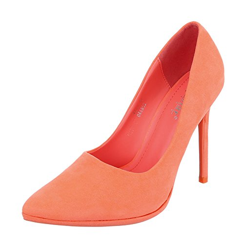 Ital-Design High Heel Damen-Schuhe Plateau Pfennig-/Stilettoabsatz High Heels Pumps Coral, Gr 37, M248-