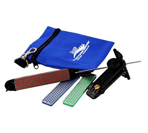 DMT AKEFC Aligner-Kit, 3 Schleifsteine mit Diamanten 10cm grob, fein, extra-fein, Führungsschiene, Aufbewahrungstasche aus Stoff (Garten-tool-sharpening Kit)