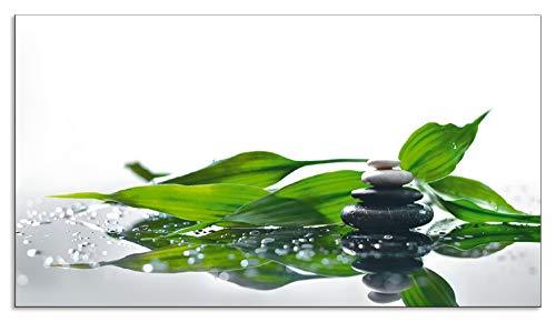 Artland Design Spritzschutz Küche I Alu Küchenrückwand Herd Wellness Zen Stein Fotografie Grün H8GP Spa mit Steinen und EIN Zweig des grünen Bambus -