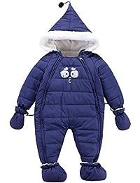 Vine Bebé Traje de Nieve y Guantes Footies Ropa de Invierno Peleles Mameluco con Capucha Cremallera Frontal