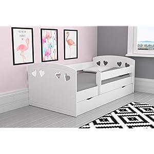 Bjird Kinderbett Jugendbett 80×140 80×160 80×180 Puderrosa mit Rausfallschutz, Matratze, Schublade und Lattenrost Kinderbetten für Mädchen und Junge – 140 cm