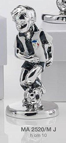 Statuina giocatore calcio squadra juventus h.cm 10 smaltata laminato argento made in italy con scatola