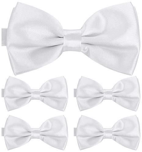 BomGuard Fliege für Herren weiß I Männer Fliege für Hochzeit, Party oder edele Anlässe I Trendy Bow Tie I 5er Set Schleifen Weiß Bow Tie Set
