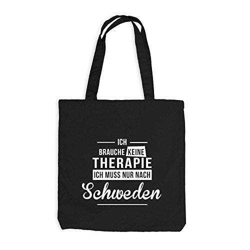 Sacchetto Di Juta - Non Ho Bisogno Di Terapie Di Terapia - La Terapia Vacanze Svezia Nero