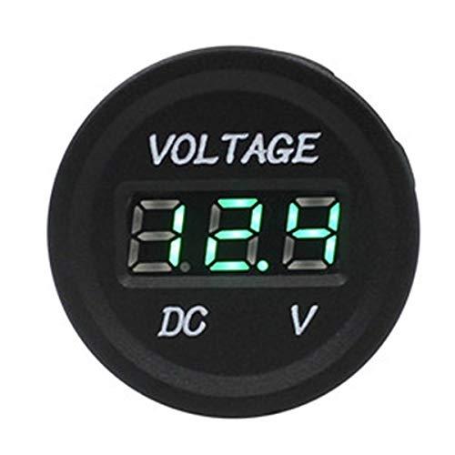 Voltage Meter Gauge Auto Motorrad Voltmeter Batterie Spannungsprüfer DC 12-24 V LED Digitalanzeige für Autos LKW Caravan Boat Marine ATV UTV kanu zum Auto Automobil Kraftfahrzeug (Color : Green)