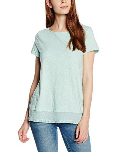 ESPRIT Damen T-Shirt 056EE1K001-mit Spitze, Türkis (Light Aqua Green 390), 34 (Herstellergröße: XS) (Shirt Aqua-spitze)