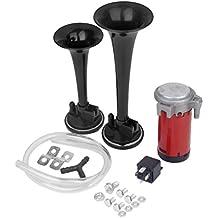 12v Compresor Trompeta Bocina De Aire Electricamente Para El Carro Del Coche Camion Negro
