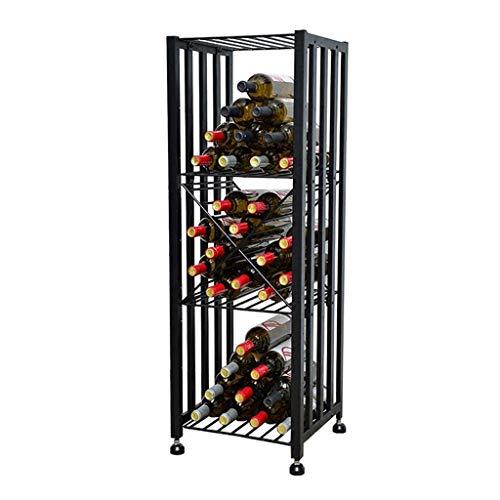 GCM Cabinet Bar Weinschränke Eisen Bodenstehend Beweglich Abschließbar Weinflaschen Regal Persönlichkeit Display Weinregal Regal for Küche Weinkeller (Color : A)