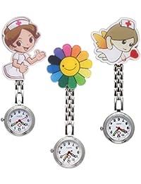manifo orologi 3X infermiera Fob Orologio Cura Cartoon Ragazza Angelo Girasole Orologio da infermiera da donna orologio da tasca Quarzo Orologio Orologi Set