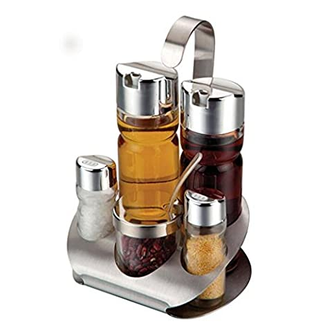 KAMIERFA Glass Cruet Set with Stand Oil Vinegar Dispenser Salt