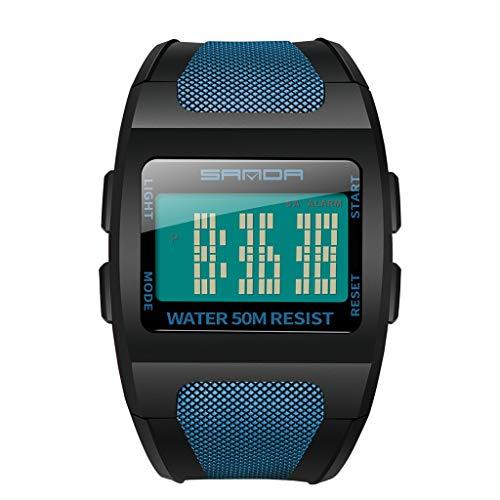 Maleya LED Multifunktions breites Zifferblatt Monochrome Digitale elektronische Uhr Bracelet Meter leuchtende Uhr Uhr Analog Quarz Armbanduhr mit Roségold Edelstahl Milanese Armband Cheerleader-fleece