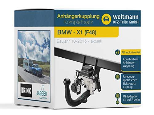 Weltmann AHK Komplettset BMW X1 F48 Brink Schwenkbare Anhängerkupplung + fahrzeugspezifischer Jaeger Automotive Elektrosatz 13-polig