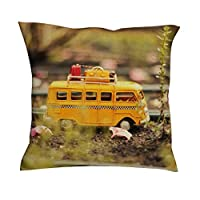 baotejianzhucailiao Toy Bus Cushion Cover - Mini Bus Beach Decor Fashion Linen Couch Pillow Cover 18 * 18 for Living Room/Bedroom Decor white 18x18inch