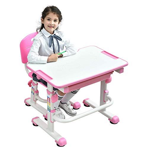 BEST DESK Grows As You Grow Ergonomische Kinder Tisch Stuhl Kippen Schreibtisch Oben Höhenverstellbare Kinder Schreibtisch Stuhl-Set mit Ausziehbare Fach FREI Tier Sitzkissen - Mini (Rosa)