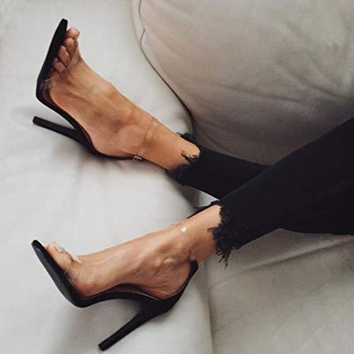 High Heels Sandaletten Damen Stiletto Schuhe, 11.5cm Frauen Römersandalen, Transparente Peep Toe Sandalen, Knöchel Schnalle Party Freizeit Hochzeit Abend Sommer Strand Schuhe Schwarz - 2
