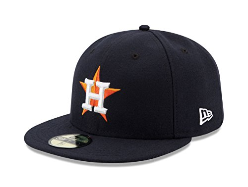 New Era Houston Astros Authentic 59FIFTY Fitted MLB Cap Home w/ 2017 WS Champs Patch, 7 1/8 (Champs-patch)