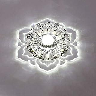 Crystal Ceiling Lamp LED Stainless Steel Modern Corridor Lamp Bedroom Study Chandelier 10 * 10cm,White-Screw3W