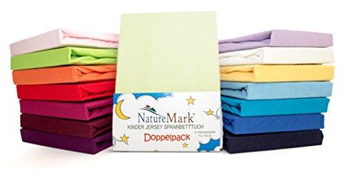 2er Sparpack Kinder Spannbettlaken Jersey 100% Baumwolle für Kinderbettmatratzen ÖKO Tex Geprüft- Gr. 70 x 140 cm, Creme / Naturweiß
