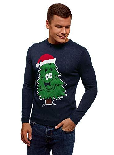oodji Ultra Herren Weihnachts-Pullover mit Rundem Ausschnitt und Winter-Muster, Blau, DE 46-48 / S