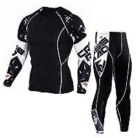 Men's Sports Set Man Fitness Suit Gym Running Yoga Athletic Jogging Workout Set Quick Dry Skin-Tight Tops + Leggings (M)