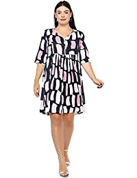 3df3871d1 Lastinch Plus Size Multicoloured Flared Knee Length Rayon Pleated Dress(Size  M-8XL)