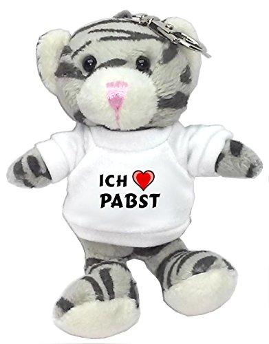 plusch-graue-katze-schlusselhalter-mit-t-shirt-mit-aufschrift-ich-liebe-pabst-vorname-zuname-spitzna