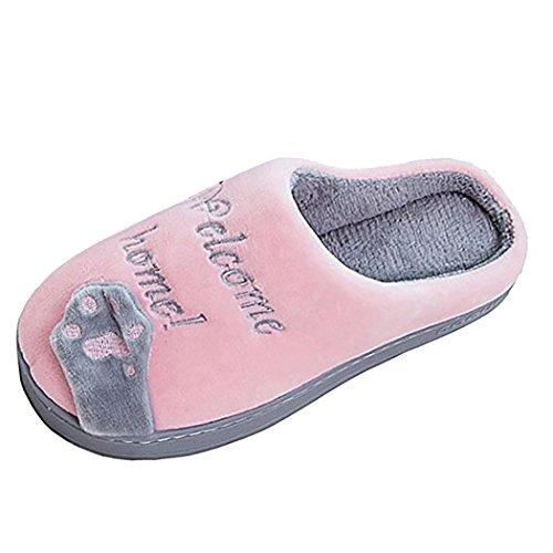 SPEEDEVE Herren Damen Hausschuhe Baumwolle Pantoffeln Plüsch Wärme Kuschelige Home Rutschfeste Slippers