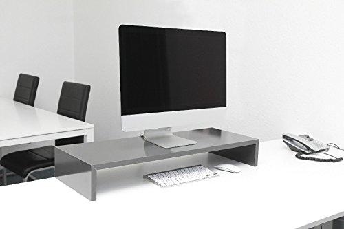 Monitortisch SAUERLAND (TFTMS75) B/T/H 75 x 30 x 12 cm schwarz matt Bildschirm Ständer Standfuß Monitorständer Schreibtischaufsatz Bildschirmerhöhung Stauraum für Tastatur und Maus Druckerständer