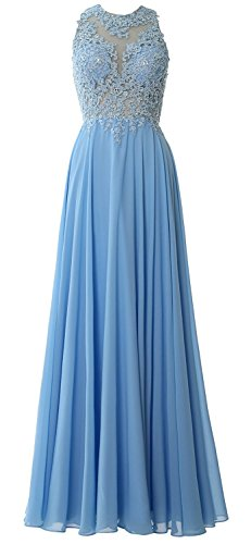 BetterGirl Damen Spitze Abendkleider Lang Elegant MaxiKleid Partykleider Brautjungfernkleider Hochzeit Festkleider 1040(Hellblau,52) - Ballkleid Light