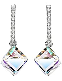 MADE WITH SWAROVSKI ELEMENTS Crystal Fashion Long Big Square Dangle Earrings For Women 2017 Hot New Jewelry