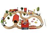 Iso Trade Eisenbahn Set 69 Holz Elemente Zug Auto Bahnübergang Bäume Menschen 6158