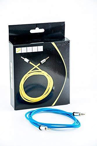 7even® Auxkabel 3,5mm Mini-Klinke mit Textimantel für AUX, Smartphone und Kopfhörer (blau)