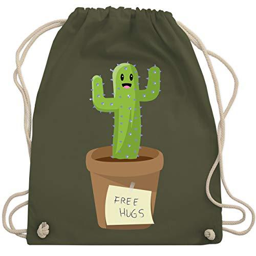 Statement Shirts - Free Hugs Kaktus - Unisize - Olivgrün - WM110 - Turnbeutel & Gym Bag
