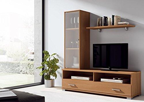 Mueble para salon comedor con vitrina, cajon y estante color cerezo, 156cm alto x 150cm ancho x 40cm