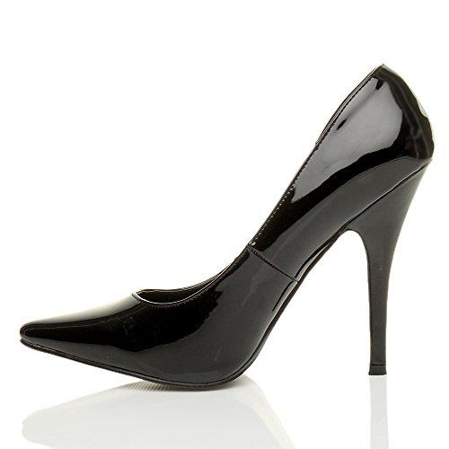 Ajvani Uomo donna drag queen crossdresser travestito burlesco tacco alto décolleté a punta scarpe grande numero Vernice nera