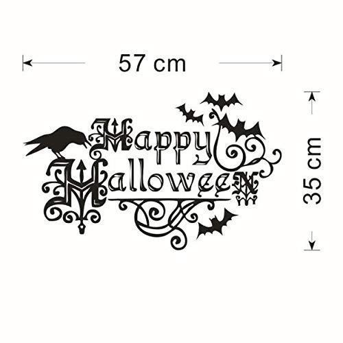 (JiaMeng Ferienartikel DIY Hintergrund Wand Dekoration Black Ghost Halloween Wandaufkleber, Happy Halloween Black Ghost Wandaufkleber Fenster Dekoration Abziehbild Dekor (Einheitsgröße, Schwarz))