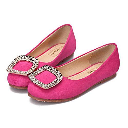 AalarDom Damen Ohne Absatz Rein Nubukleder Mattglasbirne Flache Schuhe Rosa