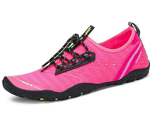 Tmaza Kinder Badeschuhe Damen Schwimmschuhe Rutschfeste Wasserschuhe Jungen Strandschuhe Aquaschuhe Surfschuhe Barfuß Wassersport Schuhe,Neu 1-Pink 37 EU