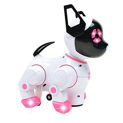 HKFV Intelligenter elektronischer Haustier-Spielzeug-Roboter-Hund scherzt gehende Welpen-Aktions-Spielwaren Elektronisches Spielzeug Hundespielzeug Elektronischer Roboterhund (Pink)