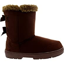 Mujer Twin Bow Tall Classic Fur Impermeable Invierno Rain Nieve Botas