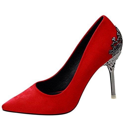 Oasap Femme Chaussure A Talons Hauts Pointue Mariage Soirée red