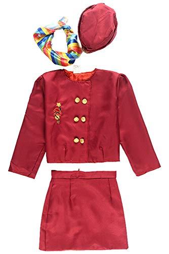MingoTor Stewardess Kleid Rot Uniform Flugbegleiterin Kostüm Cosplay Set Berufe Fasching für Kinder Mädchen