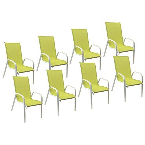 Happy Garden Lot de 8 chaises Marbella en textilène Vert - Aluminium Blanc