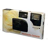 FV-Sonderleistung Weiße Rose - Cámaras desechables con flash (27 fotos y sensibilidad ASA 400), diseño de rosa blanca (importado)