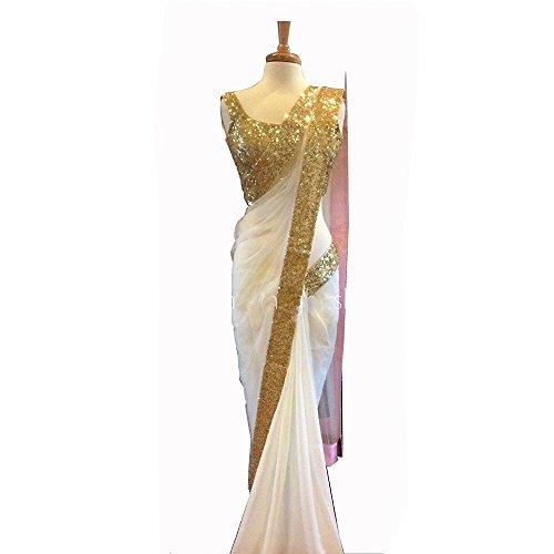 Jhtex Fashion Women's Chiffon Saree With Blouse Piece (Romi05_White)